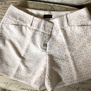 White and beige eyelet dress shorts by The Limited